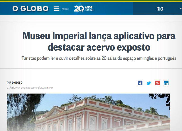 o globo museu imperial aplicativo historia em maos qr code